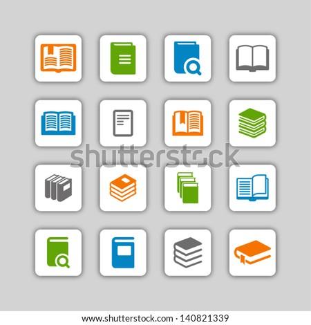 Book icon set - stock vector