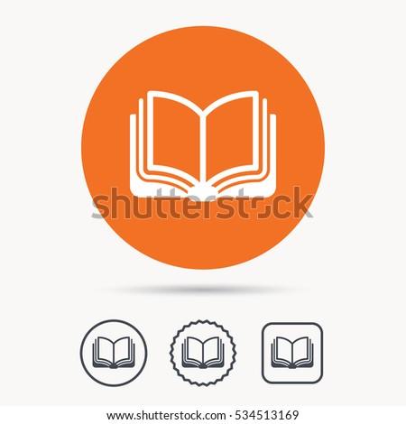 book icon study literature sign education stock vector  study literature sign education textbook symbol orange circle button web