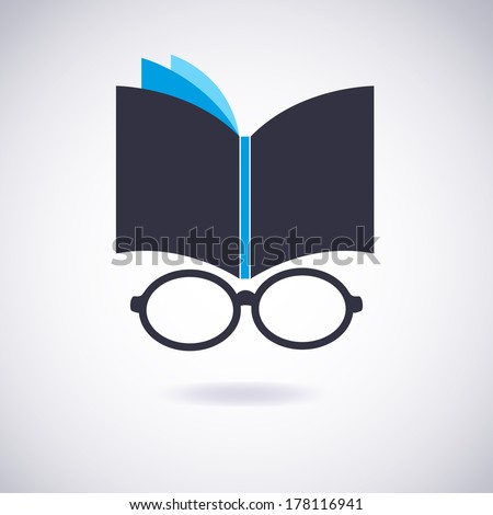 Book icon with Glasses. Vector Illustration - stock vector