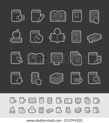 Book Icons // Black Line Series -- EPS 10+ Contain Transparencies - stock vector