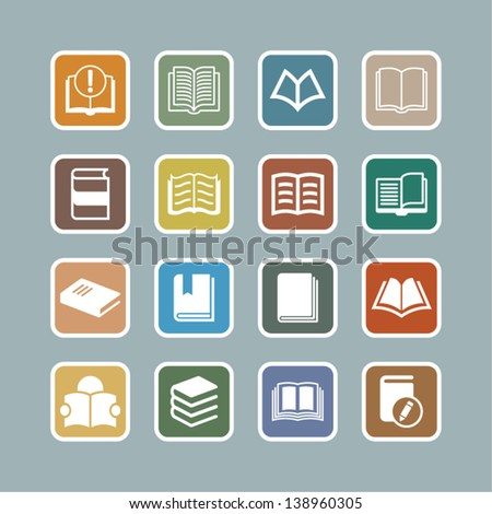 Book Icons. Color and vector. - stock vector