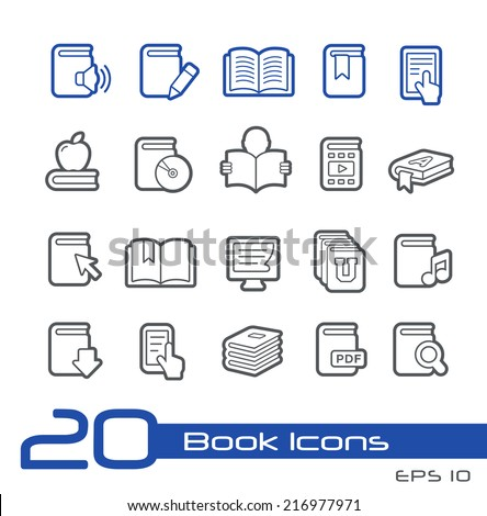 Book Icons // Line Series - stock vector