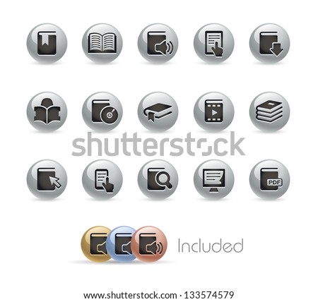 Book Icons // Metal Round Series --- It includes 4 color versions for each icon in different layers--- - stock vector