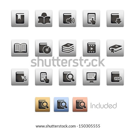 Book Icons // Metallic Series - It includes 4 color versions for each icon in different layers.  - stock vector