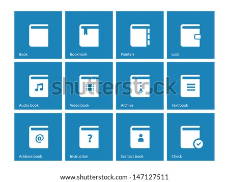 Book icons on blue background. Vector illustration. - stock vector