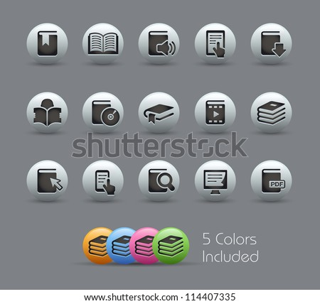 Book Icons // Pearly Series -------It includes 5 color versions for each icon in different layers --------- - stock vector