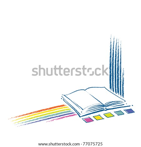 book icons, rainbow motive included, vector