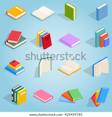 Book icons set in isometric style for any design  - stock vector