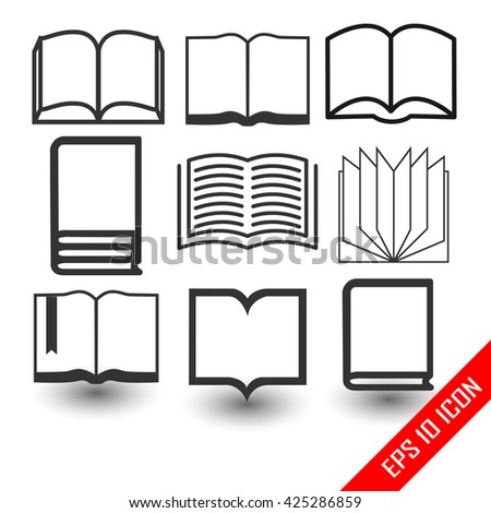 Book icons. Set of book flat logo. Set of books. Vector illustration. - stock vector