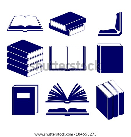 Book icons set  vector  illustration - stock vector