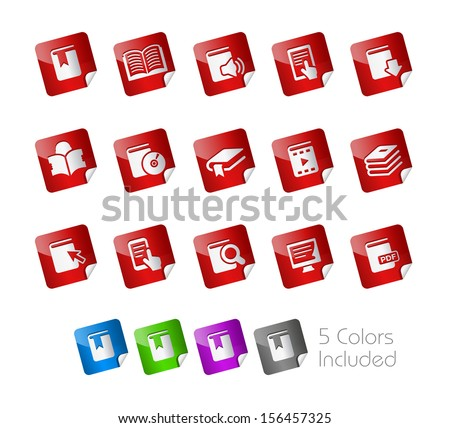 Book Icons // Stickers Series ---- It includes 5 color versions for each icon in different layers ----- - stock vector