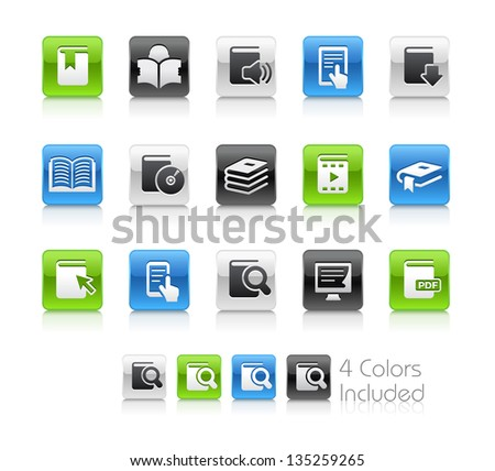 Book Icons / The file Includes 4 color versions in different layers. - stock vector