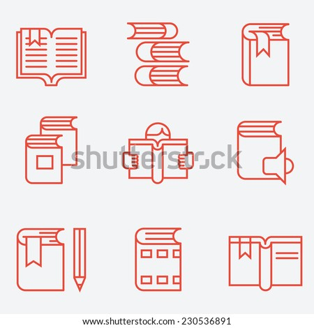 Book icons, thin line style, flat design - stock vector
