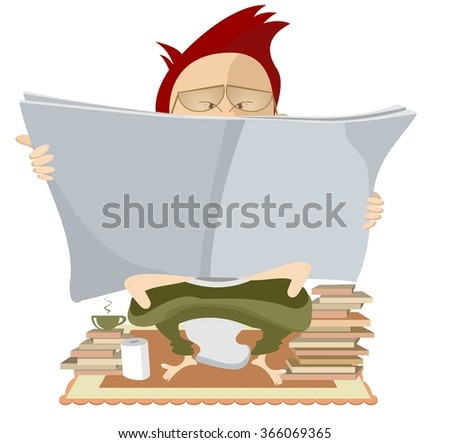 Book lover. Man seats in the toilet and reads a book  - stock vector