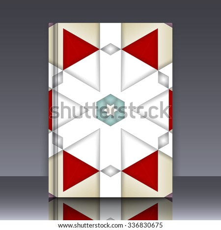 Book mockup with cover of colorful symmetrical background element with bold geometrical pattern. For wallpaper, pattern fills, web page background, surface textures for print and dalle production. - stock vector