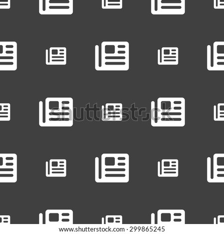 book, newspaper icon sign. Seamless pattern on a gray background. Vector illustration - stock vector