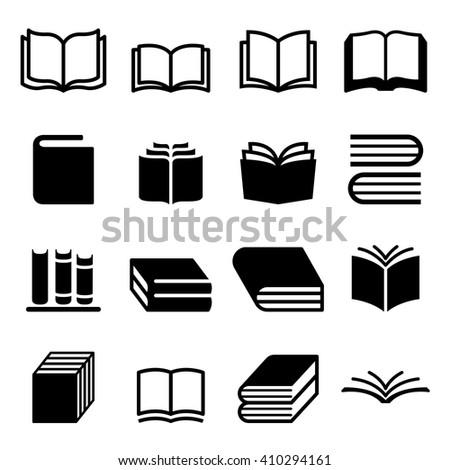Book, notebook,text book, paper, book shelf icons set - stock vector