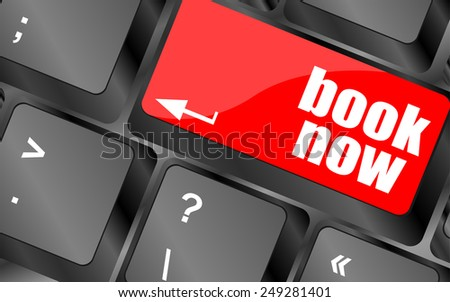 Book now button on keyboard key, web icon, web button - stock vector