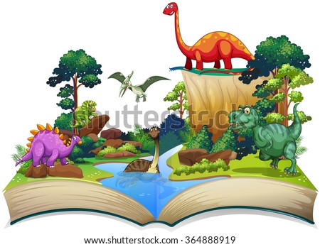 Book of dinosaur in the forest illustration - stock vector