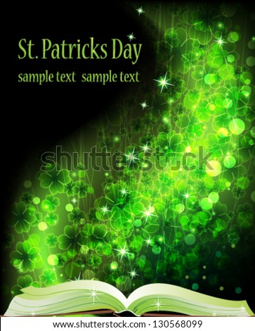 Book of fairy tales on a magic clover background - stock vector