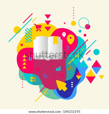Book on abstract colorful spotted background with different elements. Flat design. - stock vector