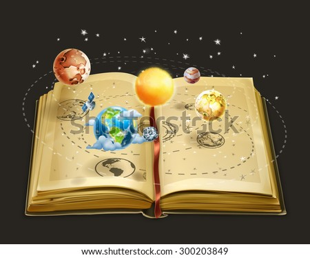 Book on astronomy, vector icon - stock vector