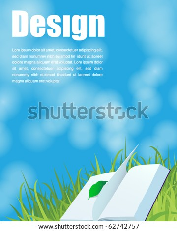 book on the grass and blue sky background - stock vector