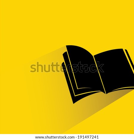 book on yellow background, flat and shadow style - stock vector