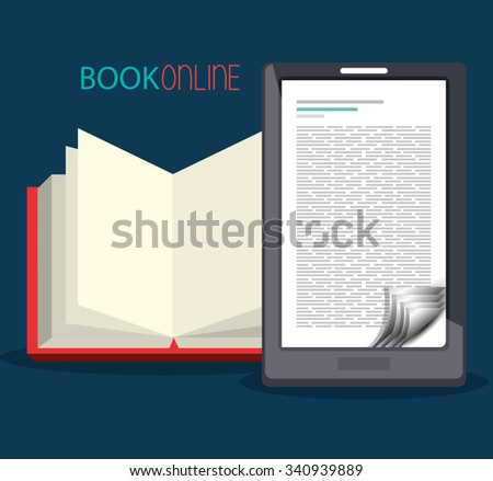 Book online and elearning graphic design, vector illustration eps10