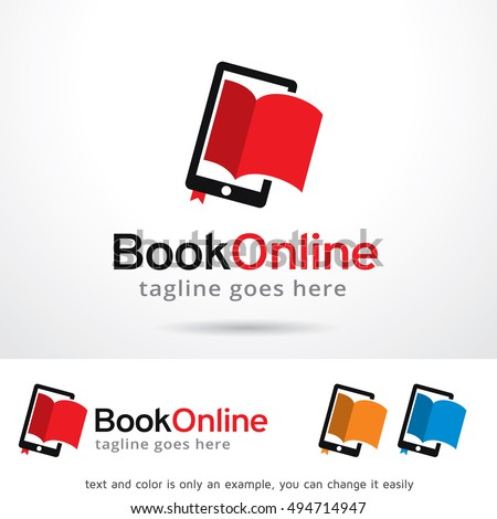 book online logo template design vector stock vector 494714947