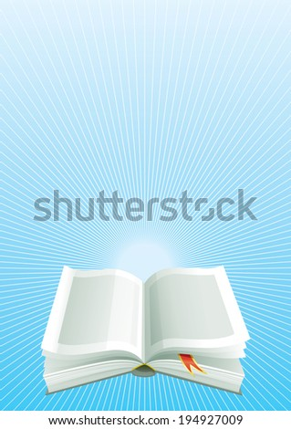 Book.. Open book  on blue vertical   background with beams.