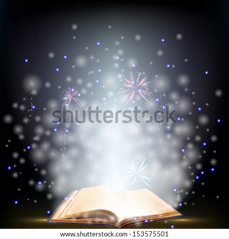 Book. Opened magic book with shining. Education - stock vector