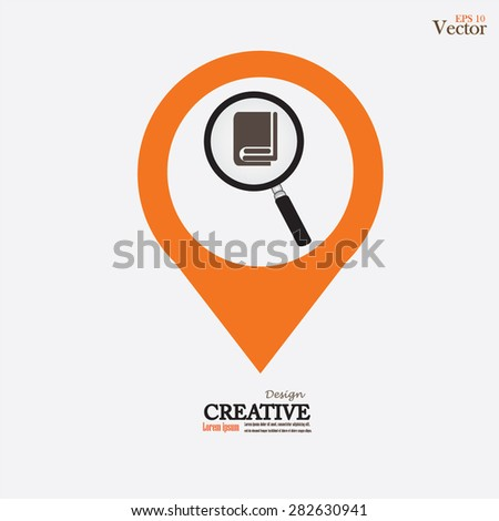 Book reviews . Search inside the dictionary.magnify with book.vector illustration. - stock vector