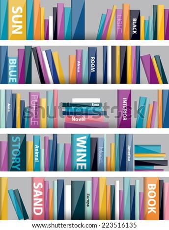 Book shelf. Plastic illustration. Vector. - stock vector