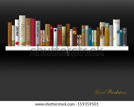 indoor shelf book shelf vector illustration bookstore indoor stock vector