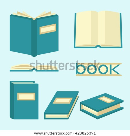Book signs and symbols. Education concept in flat style. Books set in flat design style, vector illustration - stock vector