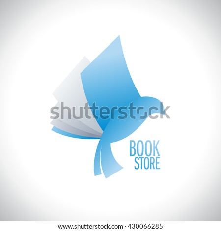 Book store logo with book flying like bird, education and entertainment concept - stock vector