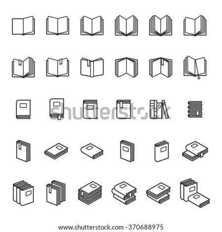 Book thin line icons. Black book images on white background. Vector illustration - stock vector