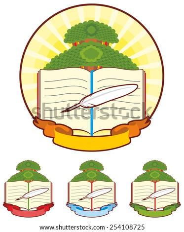 Book Tree Emblem - stock vector