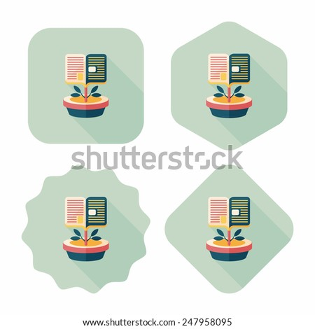 book tree flat icon with long shadow,eps10 - stock vector