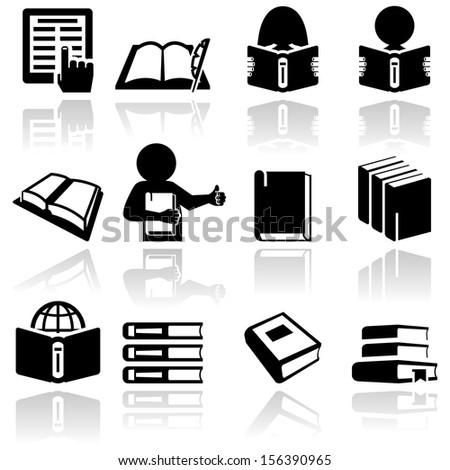 Book vector icons set. EPS 10  - stock vector