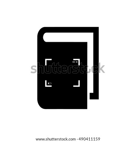 Book vector illustration. Book icon with camera focus frame symbol. Camera viewfinder vector icon