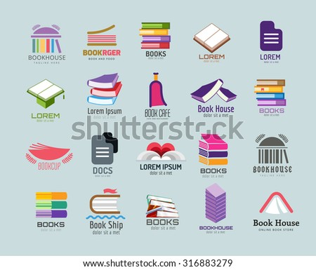Book vector logo template set. Books logo. Book open. School library books. Education, university, college symbol or knowledge, books stack, publish, page paper. Book icons. Isolated. Books vector - stock vector