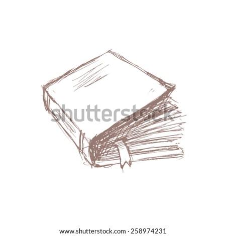 Book with a bookmark pencil sketch vector