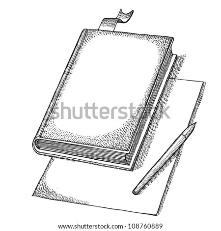 Book with bookmark, pen and paper - stock vector