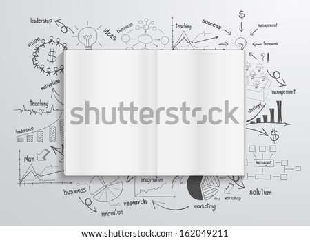 Book with drawing charts and graphs success business strategy plan concept idea, Abstract infographic workflow layout, diagram, step up options, Vector illustration template design - stock vector