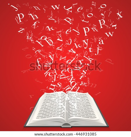 Book with flying letters. The design element of the educational concept. Vector illustration