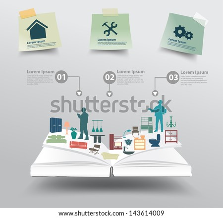 Book with home appliances icons, Home improvement and decoration service concept idea, Vector illustration modern template design - stock vector