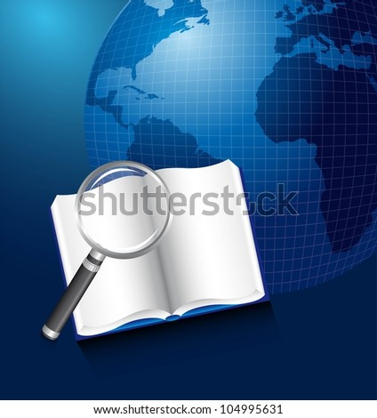 book with magnifying glass over planet. vector illustration - stock vector
