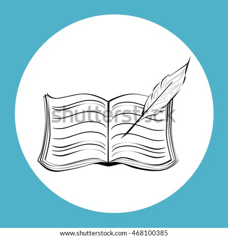 Book with pen vector icon